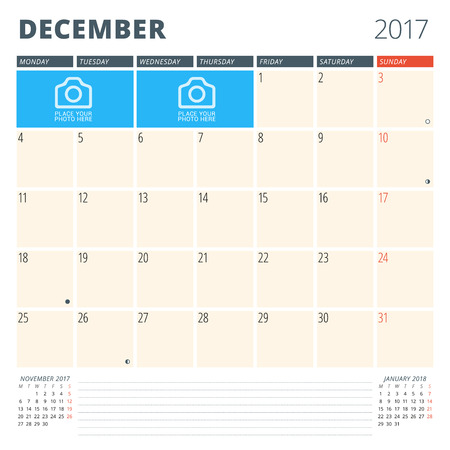 chronology: Calendar Planner for 2017 Year. Design Template with Place for Photos and Notes. December. Week Starts Monday
