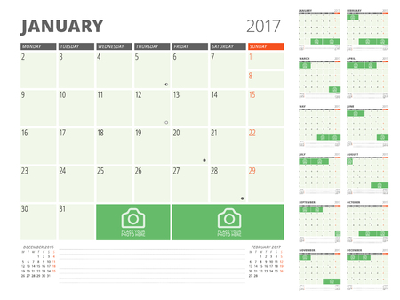 months of the year: Calendar Planner for 2017 Year. Design Template with Place for Photos and Notes. Set of 12 Months. Week Starts Monday Illustration