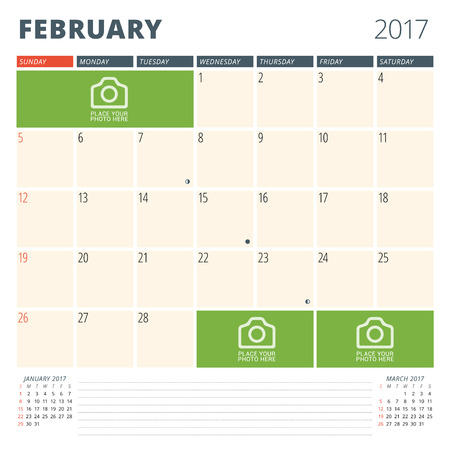 chronology: Calendar Planner for 2017 Year. Design Template with Place for Photos and Notes. February. Week Starts Sunday