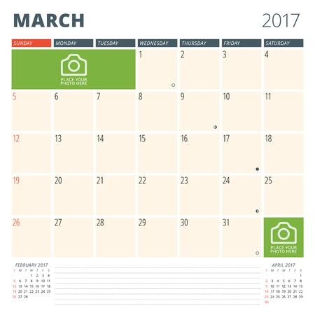 cronologia: Planificador de calendario para 2017 Año. Plantilla de diseño con lugar para fotos y notas. Marzo. Semana comienza el domingo