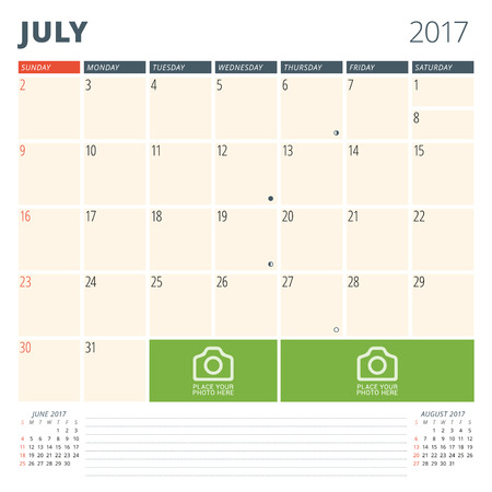 cronologia: Calendar Planner for 2017 Year. Design Template with Place for Photos and Notes. July. Week Starts Sunday