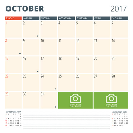 cronologia: Calendar Planner for 2017 Year. Design Template with Place for Photos and Notes. October. Week Starts Sunday