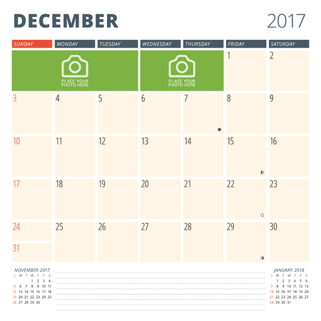 chronology: Calendar Planner for 2017 Year. Design Template with Place for Photos and Notes. December. Week Starts Sunday Illustration
