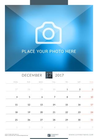 chronology: December 2017. Wall Monthly Calendar for 2017 Year. Vector Design Print Template with Place for Photo. Week Starts Monday. Portrait Orientation