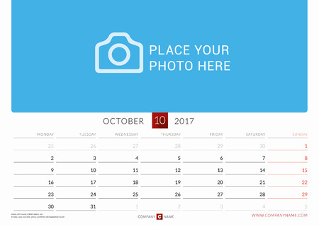 chronology: Wall Monthly Calendar for 2017 Year. Vector Design Print Template. Week Starts Monday. Landscape Orientation