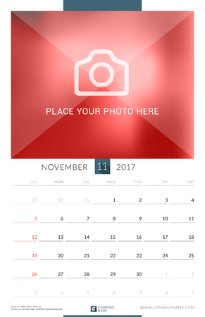 cronologia: Wall Monthly Calendar for 2017 Year. Vector Design Print Template with Place for Photo. Week Starts Monday. Portrait Orientation Vectores
