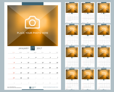 seasons of the year: Wall Monthly Calendar for 2017 Year. 12 Months. Vector Design Print Template with Place for Photo. Week Starts Sunday. Portrait Orientation Illustration
