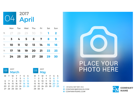chronology: Desk Calendar for 2017 Year. Vector Design Print Template with Place for Photo. April. Week Starts Monday. 3 Months on Page