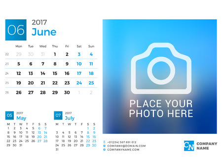 chronology: Desk Calendar for 2017 Year. Vector Design Print Template with Place for Photo. June. Week Starts Monday. 3 Months on Page