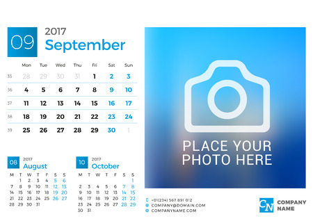 cronologia: Desk Calendar for 2017 Year. Vector Design Print Template with Place for Photo. September. Week Starts Monday. 3 Months on Page