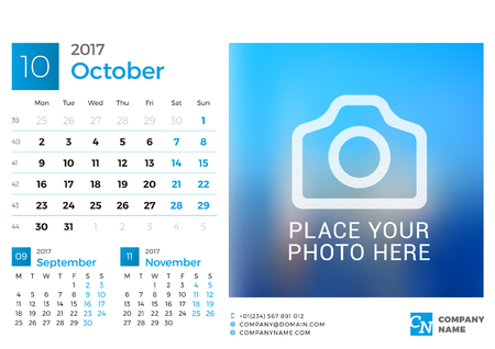 chronology: Desk Calendar for 2017 Year. Vector Design Print Template with Place for Photo. October. Week Starts Monday. 3 Months on Page Illustration