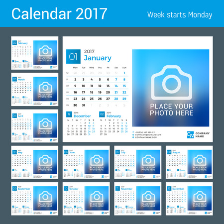 chronology: Desk Calendar for 2017 Year. Vector Design Print Template with Place for Photo. Set of 12 Months. Week Starts Monday. 3 Months on Page Illustration