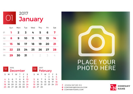 chronology: Desk Calendar for 2017 Year. Vector Design Print Template with Place for Photo. January. Week Starts Sunday. 3 Months on Page