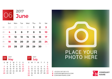 chronology: Desk Calendar for 2017 Year. Vector Design Print Template with Place for Photo. June. Week Starts Sunday. 3 Months on Page