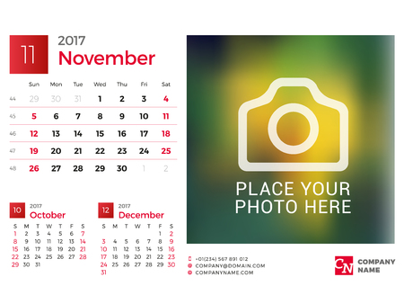 chronology: Desk Calendar for 2017 Year. Vector Design Print Template with Place for Photo. November. Week Starts Sunday. 3 Months on Page Illustration