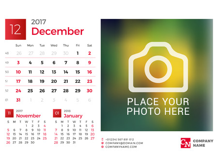 chronology: Desk Calendar for 2017 Year. Vector Design Print Template with Place for Photo. December. Week Starts Sunday. 3 Months on Page