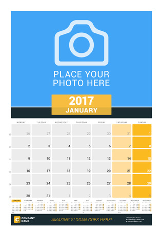 print template: January 2017. Wall Monthly Calendar for 2017 Year. Vector Design Print Template with Place for Photo and Year Calendar. Week Starts Monday