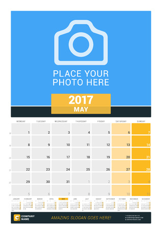 chronology: May 2017. Wall Monthly Calendar for 2017 Year. Vector Design Print Template with Place for Photo and Year Calendar. Week Starts Monday