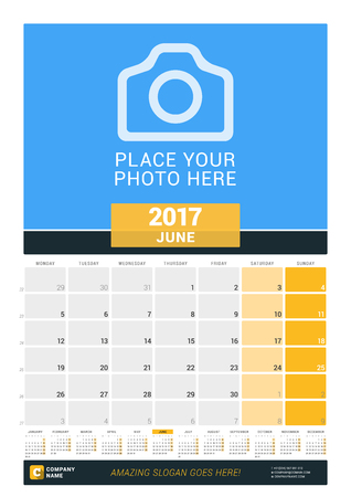 chronology: June 2017. Wall Monthly Calendar for 2017 Year. Vector Design Print Template with Place for Photo and Year Calendar. Week Starts Monday