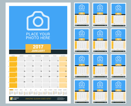 chronology: Wall Monthly Calendar for 2017 Year. Vector Design Print Template with Place for Photo and Year Calendar. Week Starts Sunday