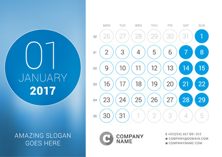 chronology: Desk Calendar for 2017 Year. January. Design Print Template with Place for Photo. Week Starts Monday
