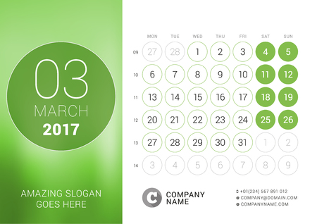 chronology: Desk Calendar for 2017 Year. March. Design Print Template with Place for Photo. Week Starts Monday Illustration