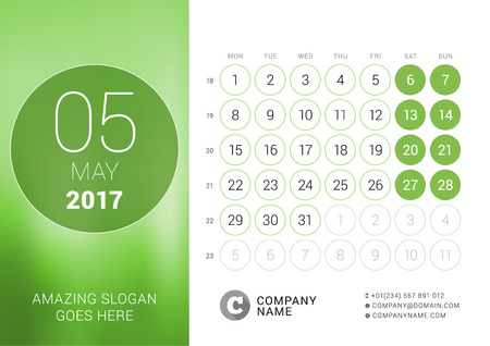chronology: Desk Calendar for 2017 Year. May. Design Print Template with Place for Photo. Week Starts Monday Illustration
