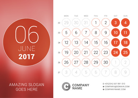 chronology: Desk Calendar for 2017 Year. June. Design Print Template with Place for Photo. Week Starts Monday