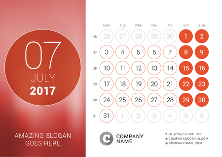 chronology: Desk Calendar for 2017 Year. July. Design Print Template with Place for Photo. Week Starts Monday
