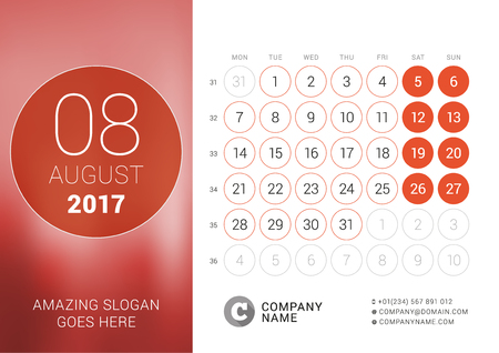 cronologia: Desk Calendar for 2017 Year. August. Design Print Template with Place for Photo. Week Starts Monday Vectores