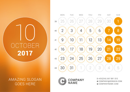 chronology: Desk Calendar for 2017 Year. October. Design Print Template with Place for Photo. Week Starts Monday