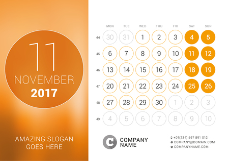 desk calendar: Desk Calendar for 2017 Year. November. Design Print Template with Place for Photo. Week Starts Monday