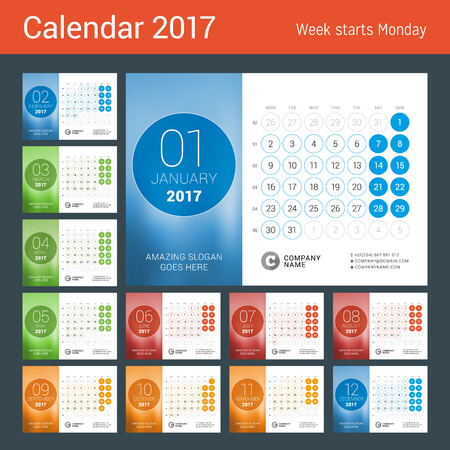 Desk Calendar for 2017 Year. Set of 12 Months. Design Print Template with Place for Photo. Week Starts Monday