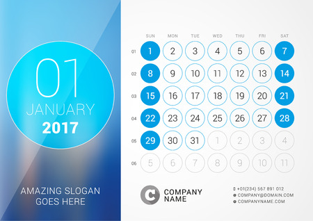 desk calendar: Desk Calendar for 2017 Year. January. Design Print Template with Place for Photo. Week Starts Sunday