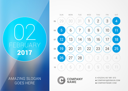 cronologia: Desk Calendar for 2017 Year. February.  Design Print Template with Place for Photo. Week Starts Sunday