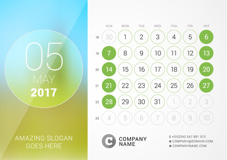 chronology: Desk Calendar for 2017 Year. May. Design Print Template with Place for Photo. Week Starts Sunday
