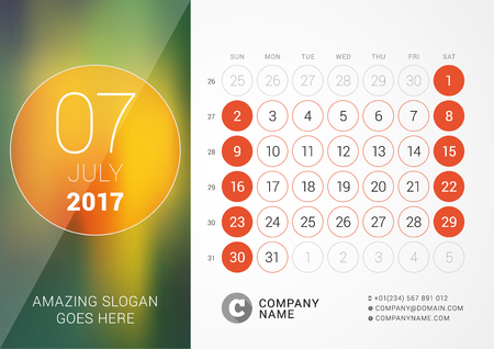 chronology: Desk Calendar for 2017 Year. July. Design Print Template with Place for Photo. Week Starts Sunday Illustration