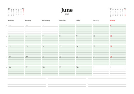 table sizes: Calendar Template for 2017 Year. June. Business Planner 2017 Template. Stationery Design. Week starts Monday. 3 Months on the Page. Illustration Illustration