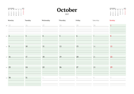 table sizes: Calendar Template for 2017 Year. October. Business Planner 2017 Template. Stationery Design. Week starts Monday. 3 Months on the Page. Illustration