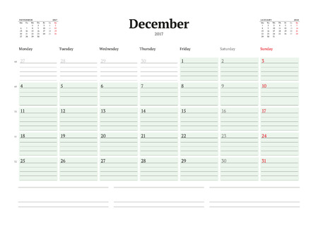 table sizes: Calendar Template for 2017 Year. December. Business Planner 2017 Template. Stationery Design. Week starts Monday. 3 Months on the Page. Illustration