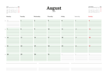 table sizes: Calendar Template for 2017 Year. August. Business Planner 2017 Template. Stationery Design. Week starts Monday. 3 Months on the Page. Illustration