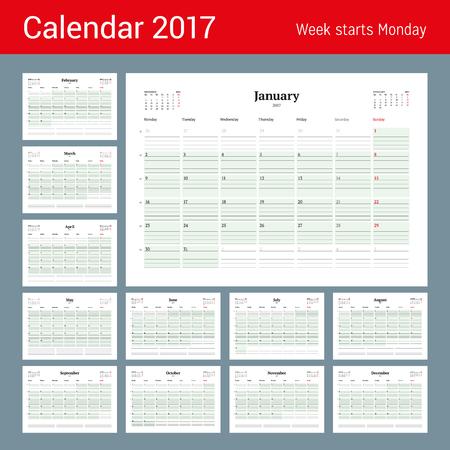 meses del año: Plantilla Calendario de 2017 años. Conjunto de 12 Meses. Business Planner 2017 Plantilla. Diseño de papelería. La semana empieza el lunes. 3 Meses en la página. Ilustración Vectores