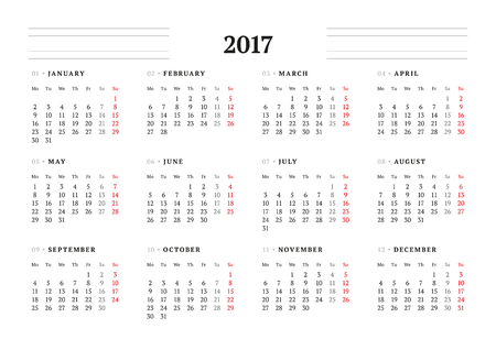 table sizes: Simple Calendar Template for 2017 Year. Stationery Design. Week starts Monday. Vector Illustration