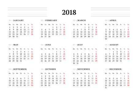 2018 년 동안 간단한 달력 템플릿입니다. 편지지 디자인. 월요일이 월요일에 시작됩니다. 벡터 일러스트 레이션