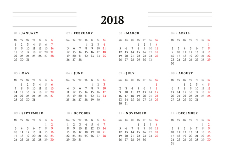 Simple Calendar Template for 2018 Year. Stationery Design. Week starts Monday. Vector Illustration Vettoriali