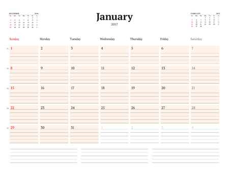 cronologia: Plantilla Calendario de 2017 años. Enero. Plantilla de visita del planificador. Diseño de papelería. La semana comienza el domingo. 3 Meses en la página. Ilustración del vector