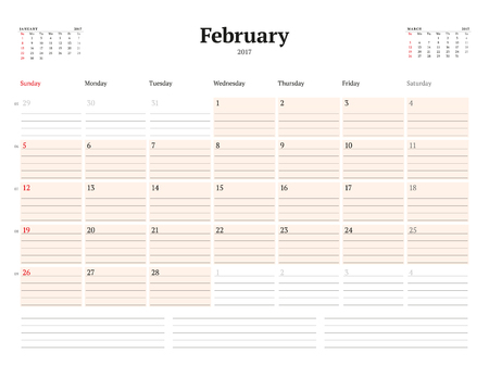 chronology: Calendar Template for 2017 Year. February. Business Planner Template. Stationery Design. Week starts Sunday. 3 Months on the Page. Vector Illustration