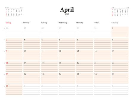 chronology: Calendar Template for 2017 Year. April. Business Planner Template. Stationery Design. Week starts Sunday. 3 Months on the Page. Vector Illustration Illustration