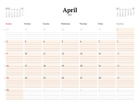 cronologia: Plantilla Calendario de 2017 a�os. Abril. Plantilla de visita del planificador. Dise�o de papeler�a. La semana comienza el domingo. 3 Meses en la p�gina. Ilustraci�n del vector Vectores