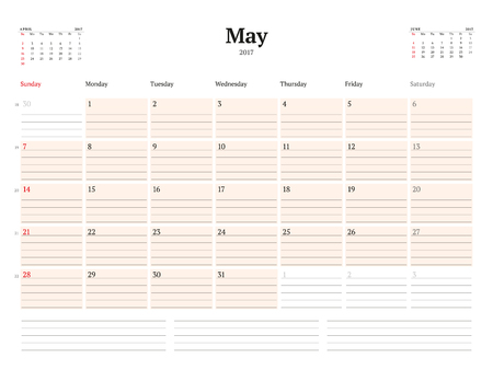 table sizes: Calendar Template for 2017 Year. May. Business Planner Template. Stationery Design. Week starts Sunday. 3 Months on the Page. Vector Illustration Illustration
